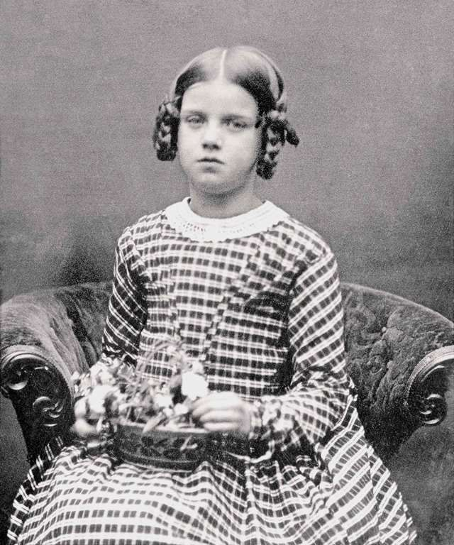 The Darwins' eldest daughter, Annie, photographed in 1849 aged eight. She died in 1851. A box of her possessions, put together after her death by her mother, is on display at Down House