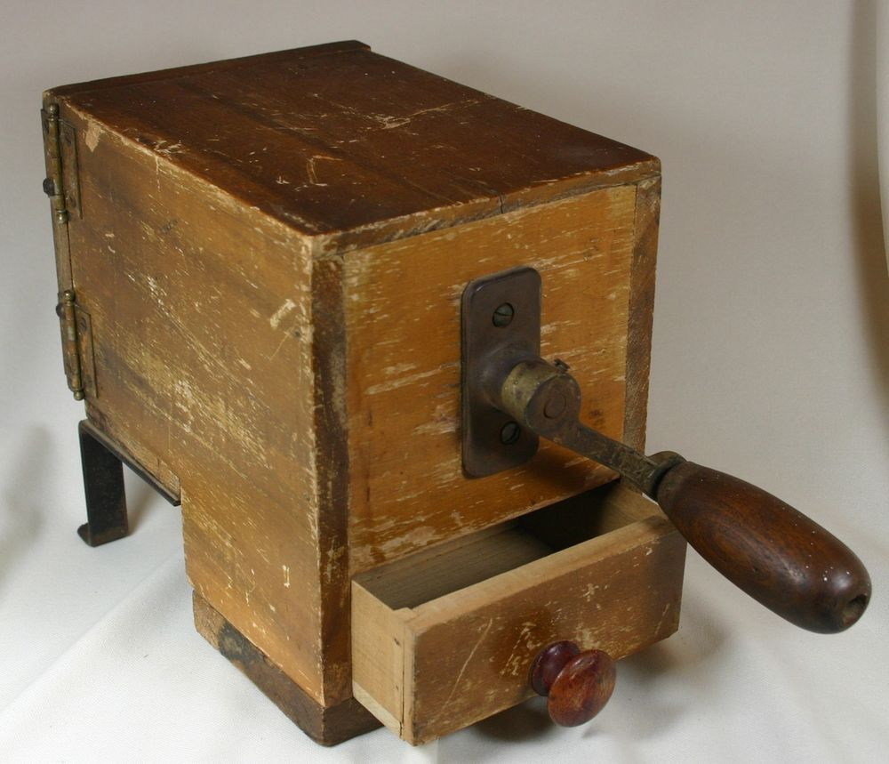 Incredible Antique Cheese Grater Grinder With Wooden