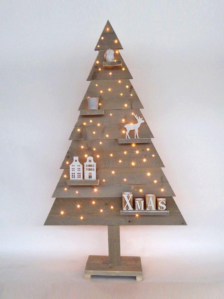 houten kerstboom steigerhout 170 cm met led lampjes. Black Bedroom Furniture Sets. Home Design Ideas