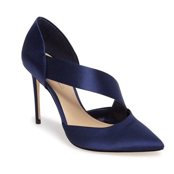 Women's Imagine By Vince Camuto Oya Asymmetrical Pointy Toe Pump (145 CAD) ❤ liked on Polyvore featuring shoes, pumps, indigo satin, pointed toe high heels stilettos, stiletto shoes, d'orsay pumps, d orsay shoes and high heel stilettos
