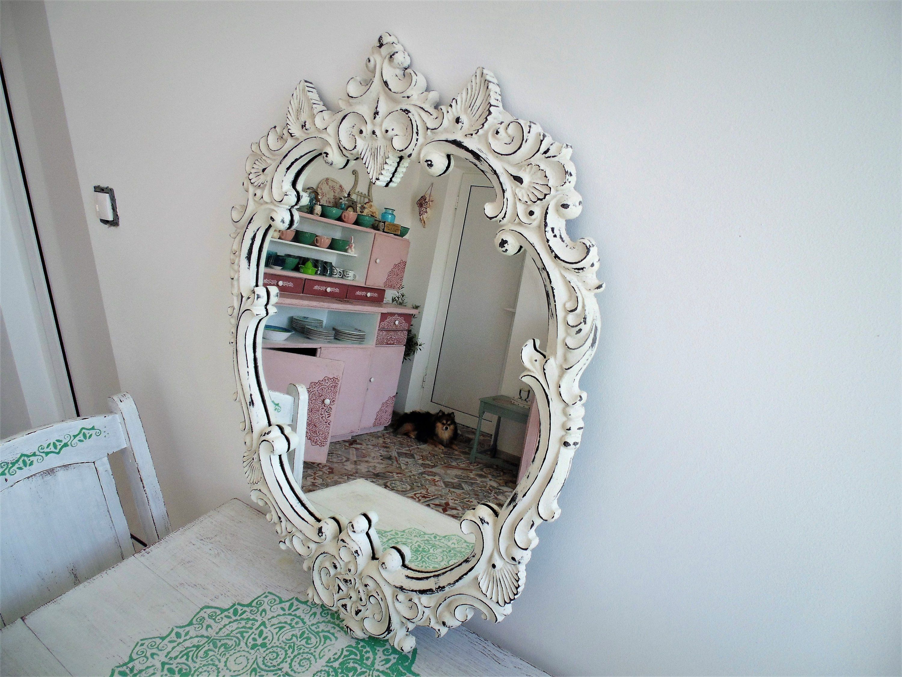 Vintage Mirror Vintage Frame Framed Mirror Polirezin Mirror White Framed Mirror Antique Mirror White Boho Mirror White Mirror Frame Vintage Mirror Antique Mirror