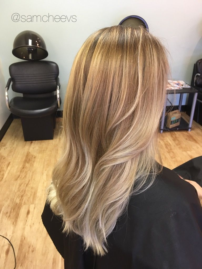 Sunkissed Light Blonde Balayage Ombre Highlights Warm Golden