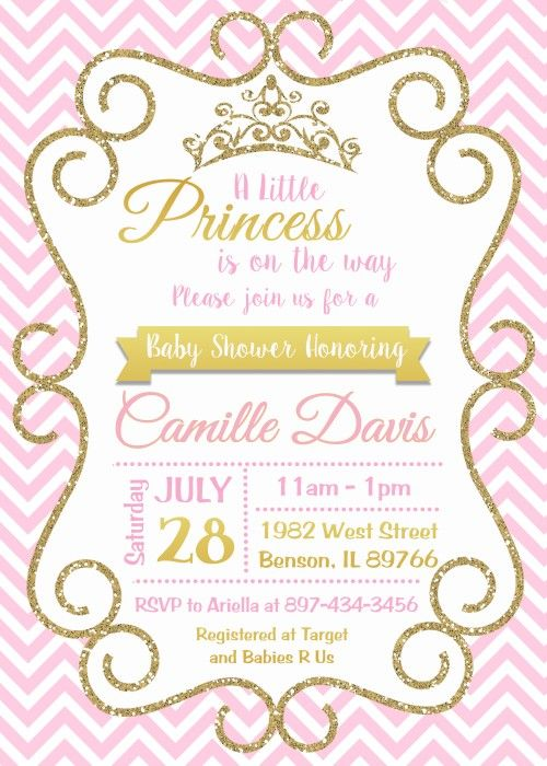 Princess Pink And Gold Baby Shower Invitation Digital Or