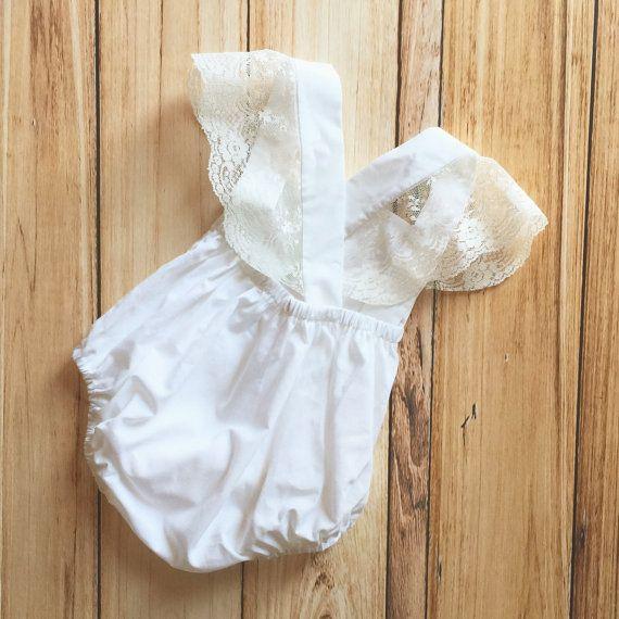 dc8740e0c5481 White Ivory Cream Ruffle Criss Cross Back Romper Sunsuit for Newborn ...