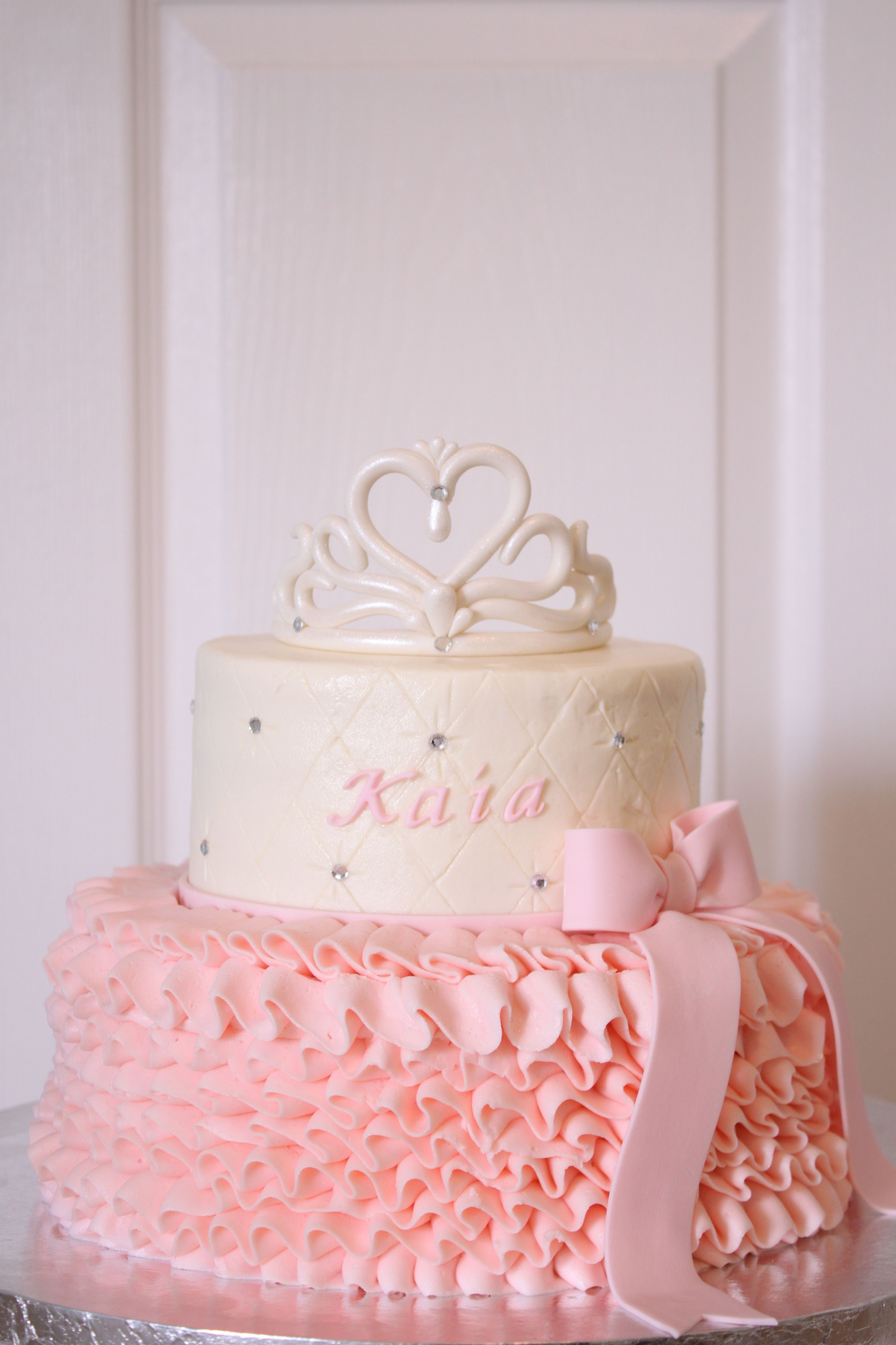 Princess Cake Ideas For Baby Shower : tiara and ruffles baby shower cake Decorated cakes and ...