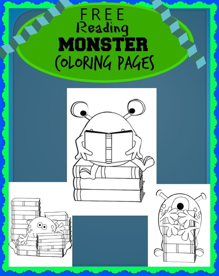 FREE Reading Monsters with Books Coloring Sheets | Coloring, For ...