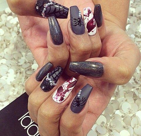 Matte dark gray, Holographic black glitter, Blood ...