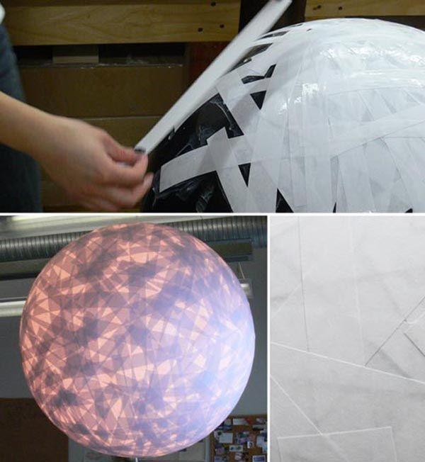L mpara de cinta de papel globo cinta de papel y cola for Make paper mache lamp shade