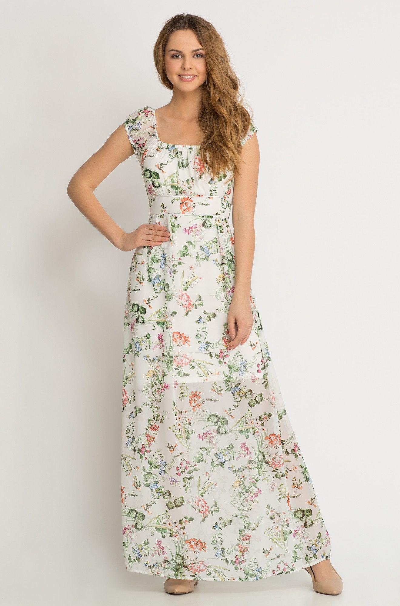 sukienka maxi w kwiaty   kleider, chiffon
