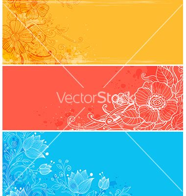 Bright floral banners vector - by Artspace on VectorStock®