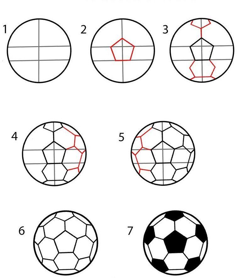 Modo facili per disegnare un pallone disegni per bambini for Disegni 3d facili per bambini