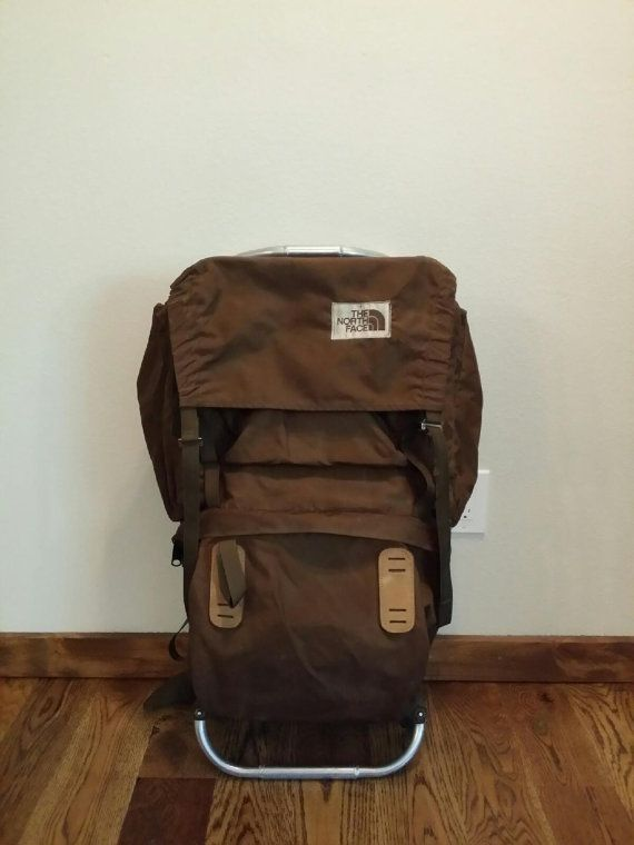 9159a0be35b ... Backpack Brown Label Pack Hiking Camping Mountaineering Retro  Wilderness Expedition Bag. Vintage 1970's The North Face TNF External Frame  by ...