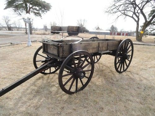 Antique horsedrawn wagon full size western wood wheel for Covered wagon plans
