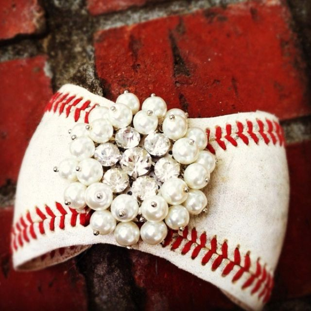 This bracelet was made from an old baseball...COOL! :)