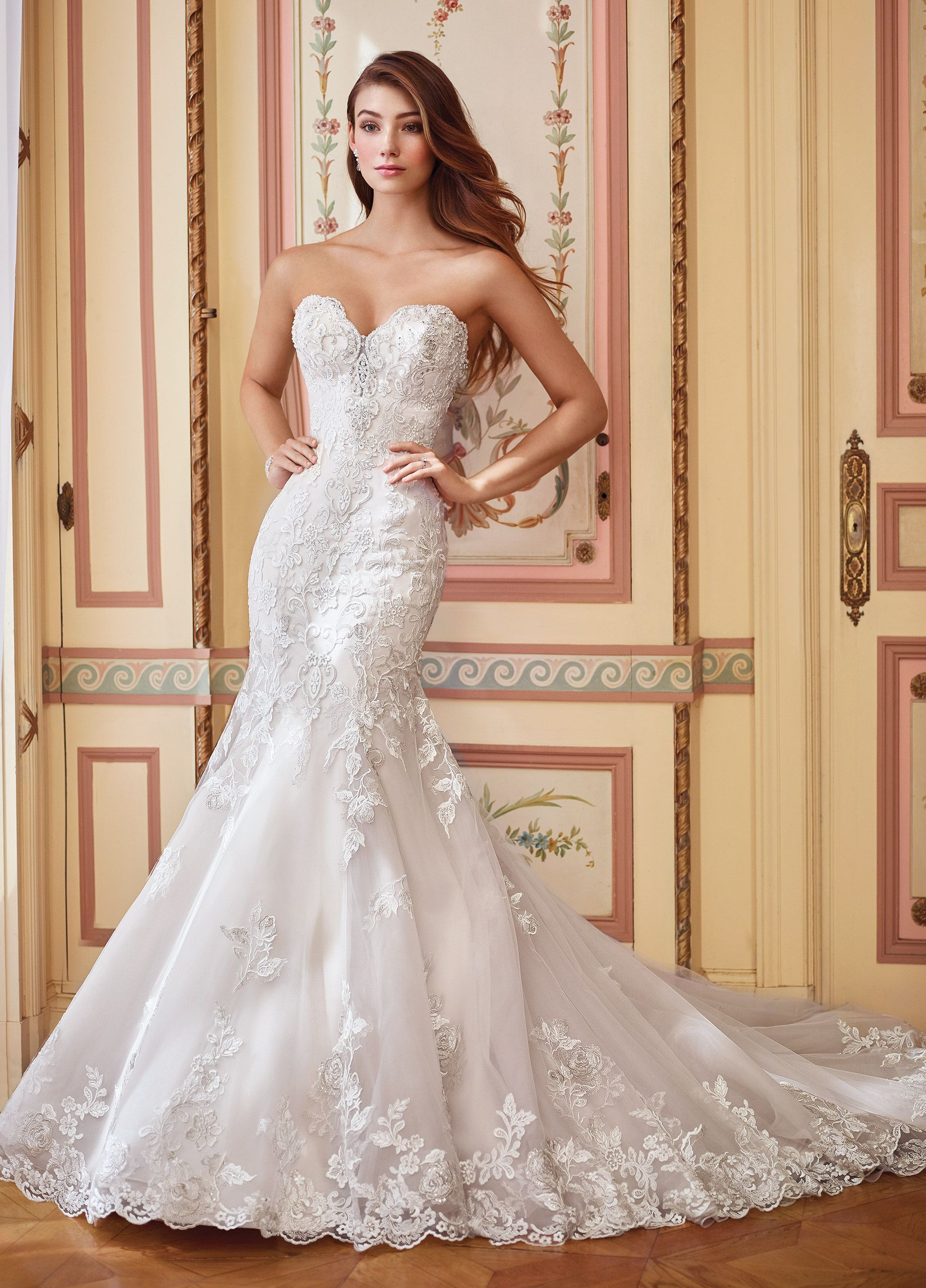 bce6652efc78 mon cheri bridals 117284 Danae - Strapless embroidered Schiffli lace on  tulle over organza and satin mermaid gown with plunging scalloped  sweetheart ...