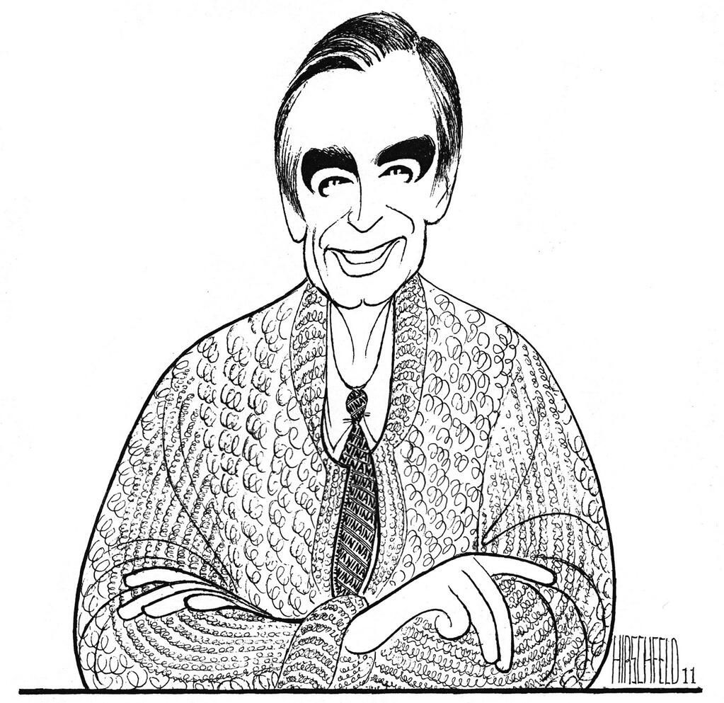 Al Hirschfeld Mr Fred Rogers Caricature Caricature Artist Drawings