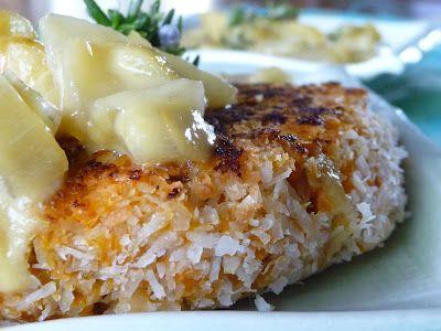Coconut Crusted Sweet Potato Salmon Cakes with Apple Rosemary Cream Sauce (Paleo + Egg-Free, Nut-Free)