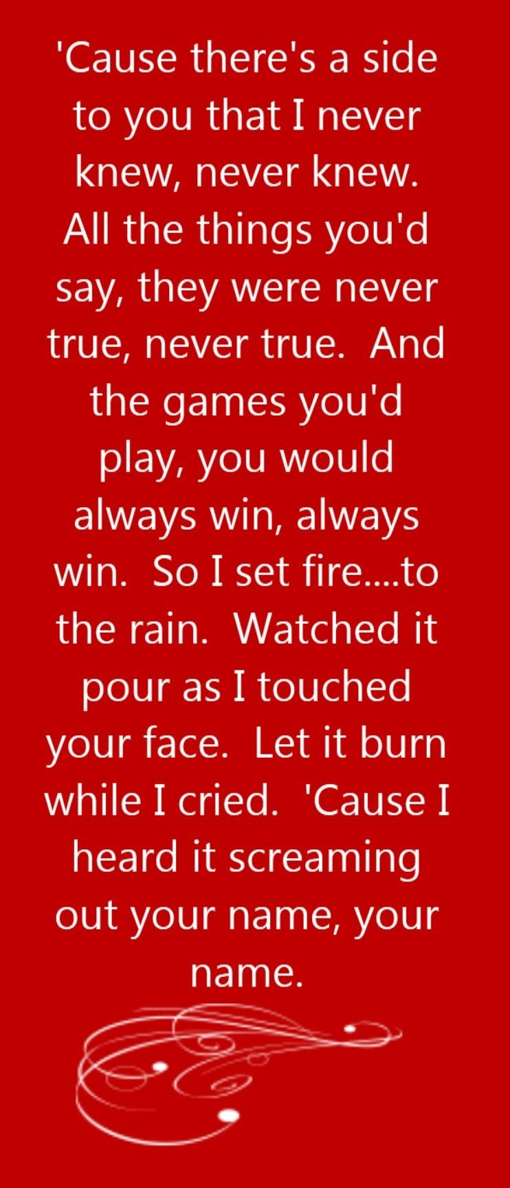 Adele Set Fire To The Rain Song Lyrics Song Quotes Songs