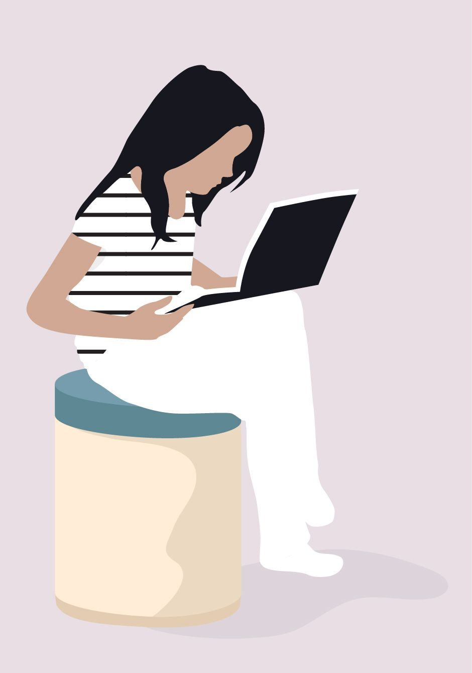 Flat Vector Girl Reading Book People Illustration Girl Reading Book Illustration
