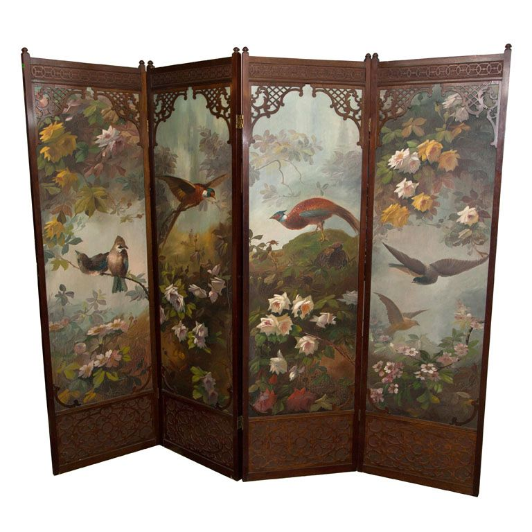 Four Panel Painted Folding Screen Painted Paneling Folding