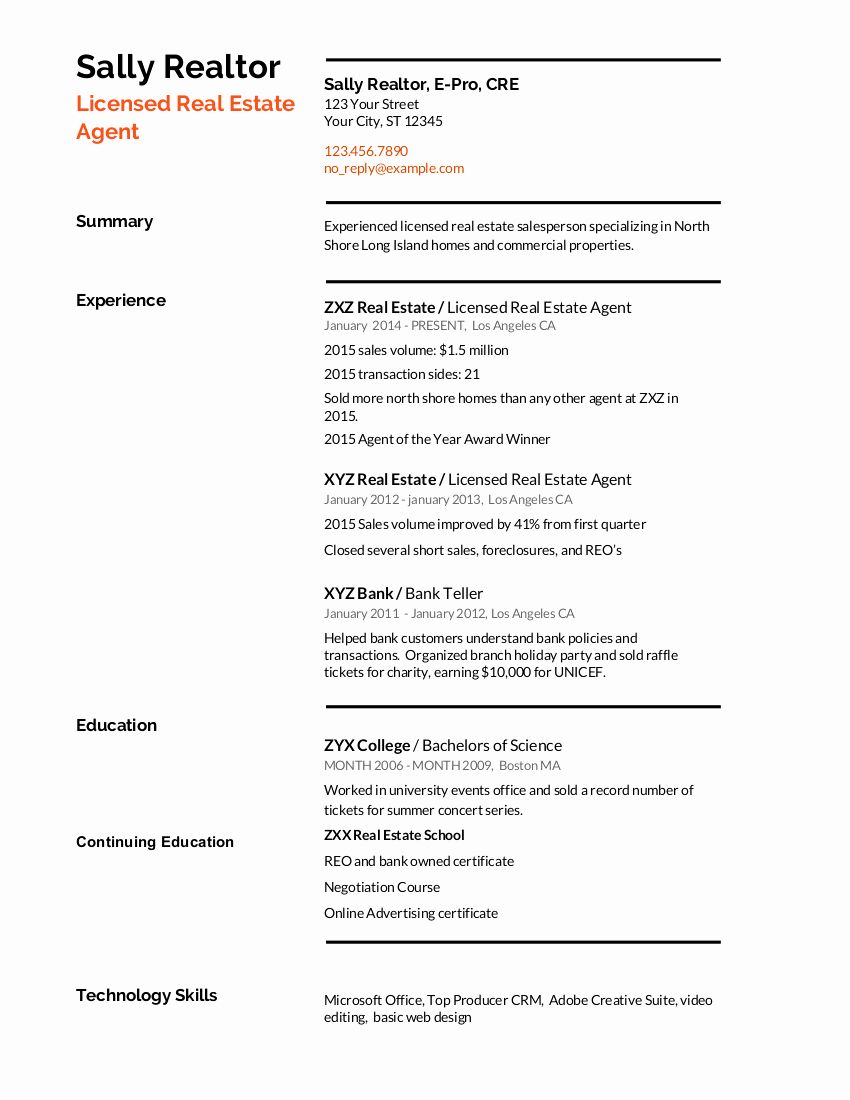 23 Real Estate Resume Example in 2020 Resume examples