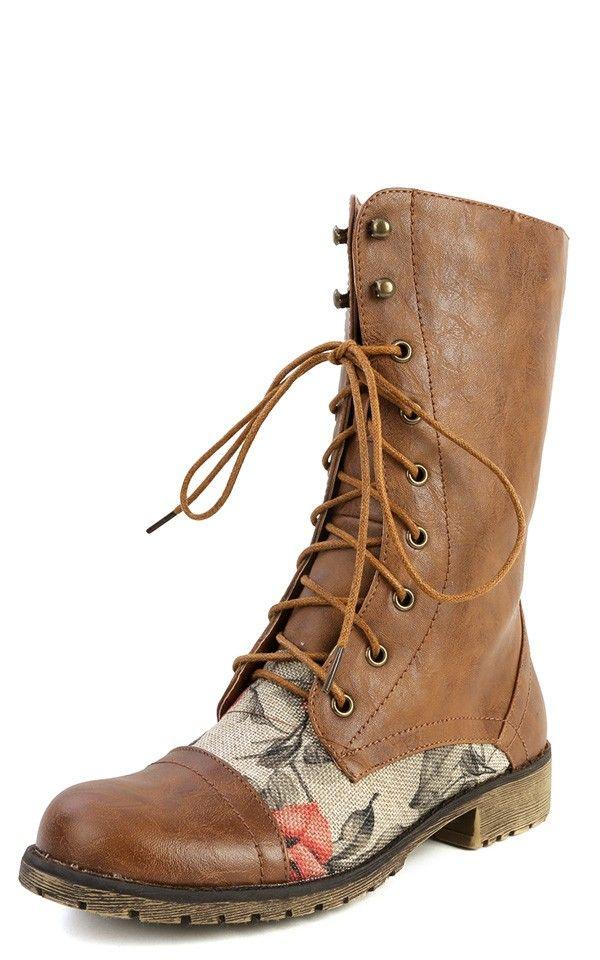 d18fa77dbce Lug-22f Lace Up Floral Combat Boots TAN