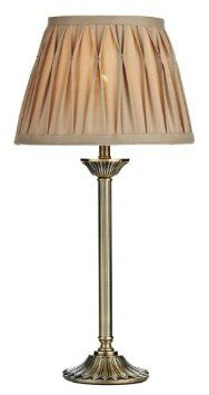 Antique Brass Table Lamp With Gold Fabric Shade Hp148341 Amazon