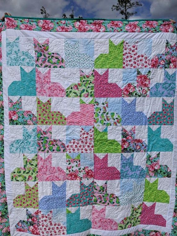 Cat Quilt Sale Priced - Twin Lap Bordered Floral