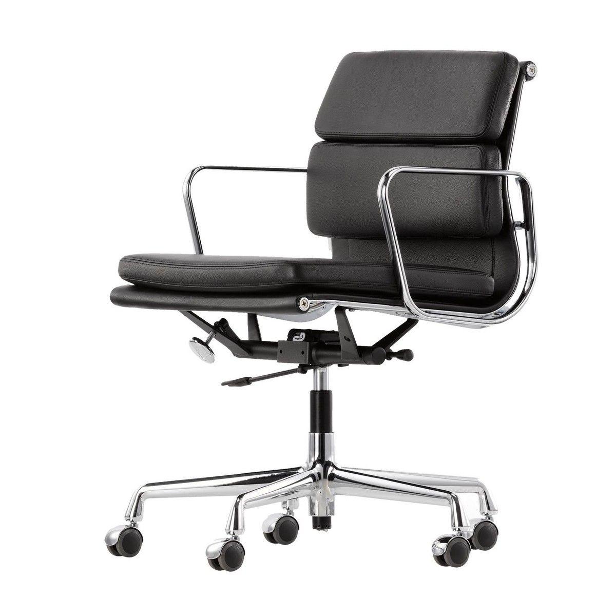 Bürostuhl eames  Vitra - EA 217 Soft Pad Eames Alu Chair Bürostuhl - Leder nero ...