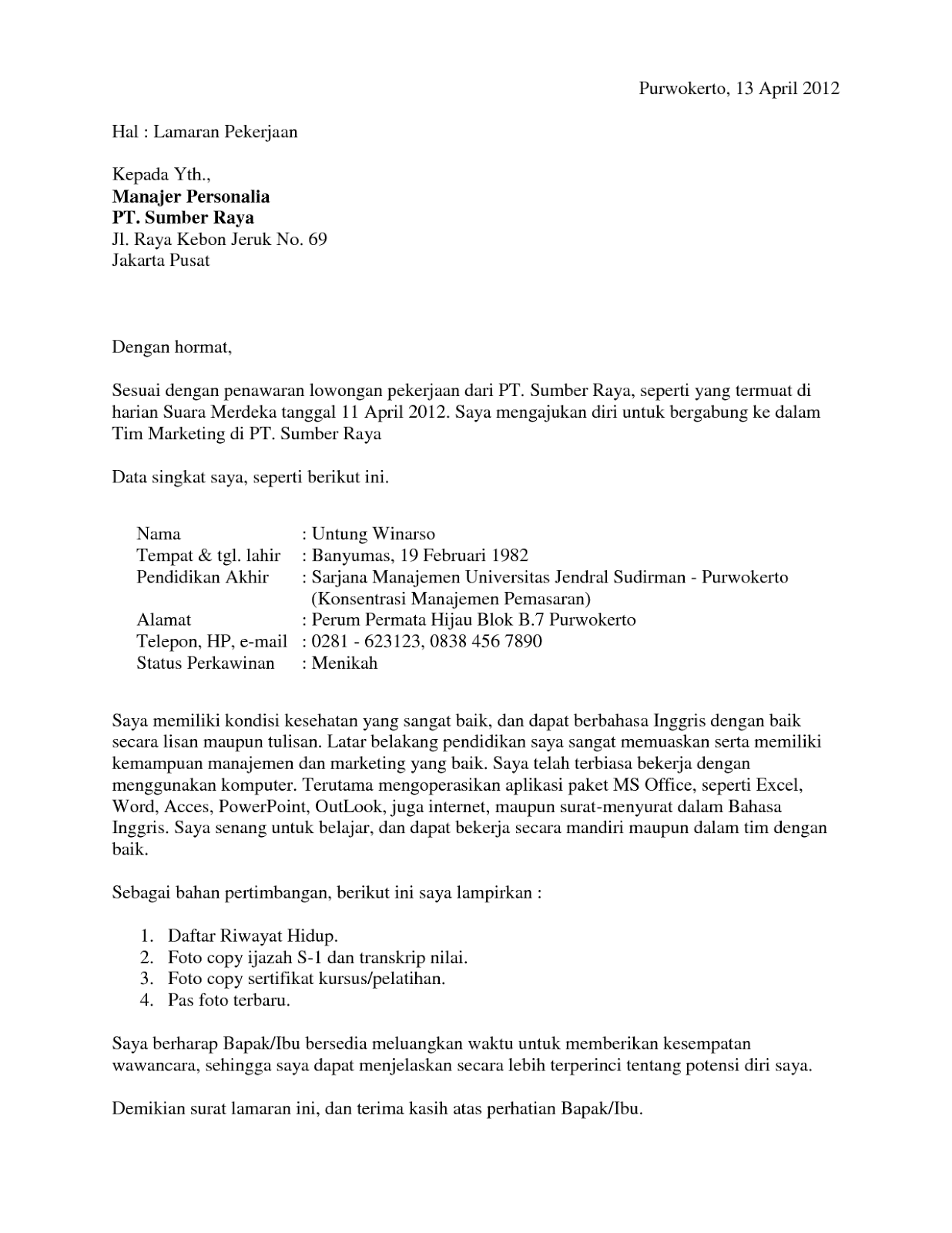 Cover Letter Bahasa Inggris Doc