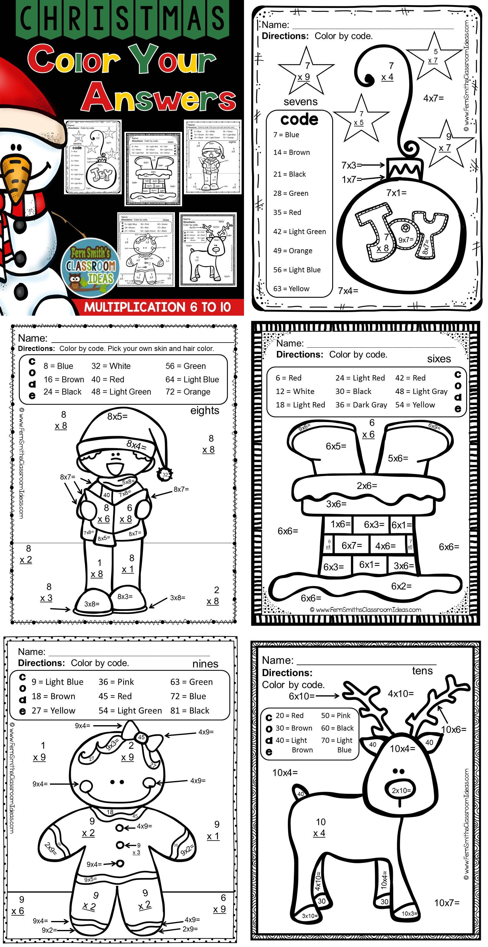 Christmas Color By Number Multiplication Facts Six To Ten