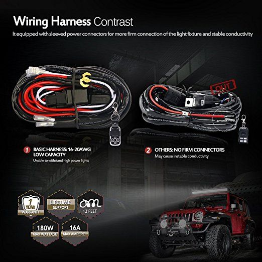 Amazon Com Mictuning Led Light Bar Wiring Harness 40amp Relay On Off Strobe Remote Control Switch 2lead 12ft Automotive Led Light Bars Strobing Bar Lighting