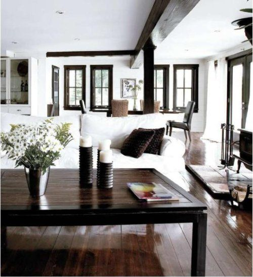 I Love White Walls Black Trim Hardwood Floors And Exposed Beams White Walls Living Room Dark Wood Floors Living Room Living Room Wood Floor