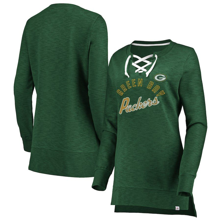 Women s Green Bay Packers Majestic Green Hyper Lace-Up Tunic ... 16605f2c5