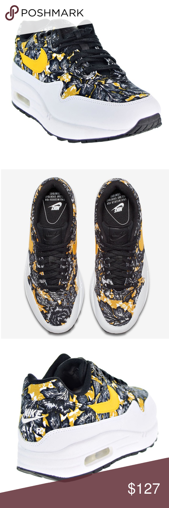 sports shoes ab8f8 52f11 Nike Air Max 1 QS! 😍 Hot Pattern! Fabulous, cool and unique! 😎😍 Nike Air  Max 1 QS. Color  White University Gold-Black. Floral Print. Women s size 10.