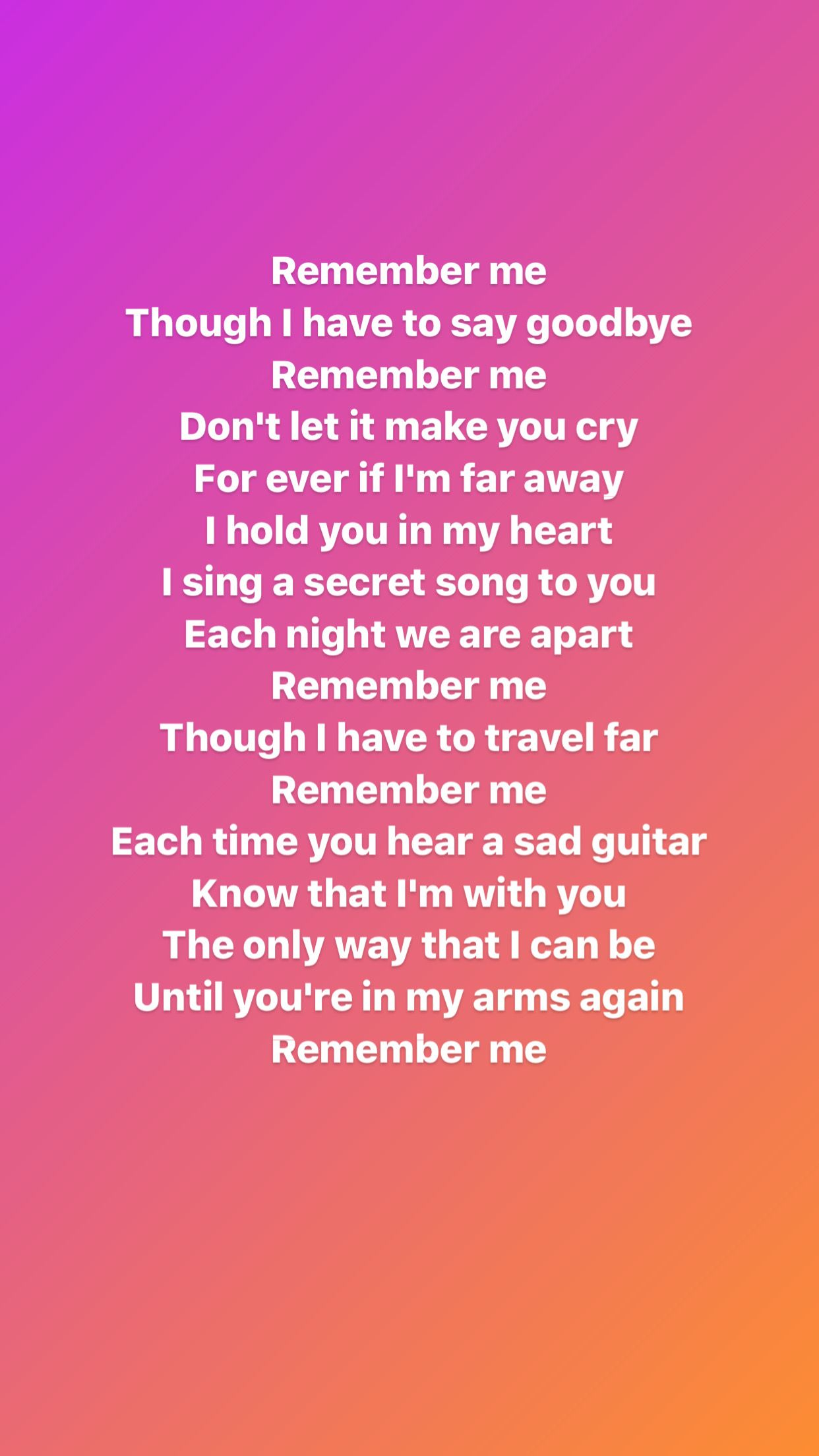Lyrics of the song Remember Me from Movie COCO Me too