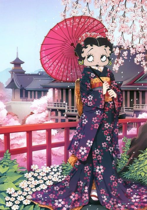 BETTY BOOP~BEAUTIFUL GEISHA~8 x 10 Mat Print~GIRL IN ORIENTAL DRESS~NEW