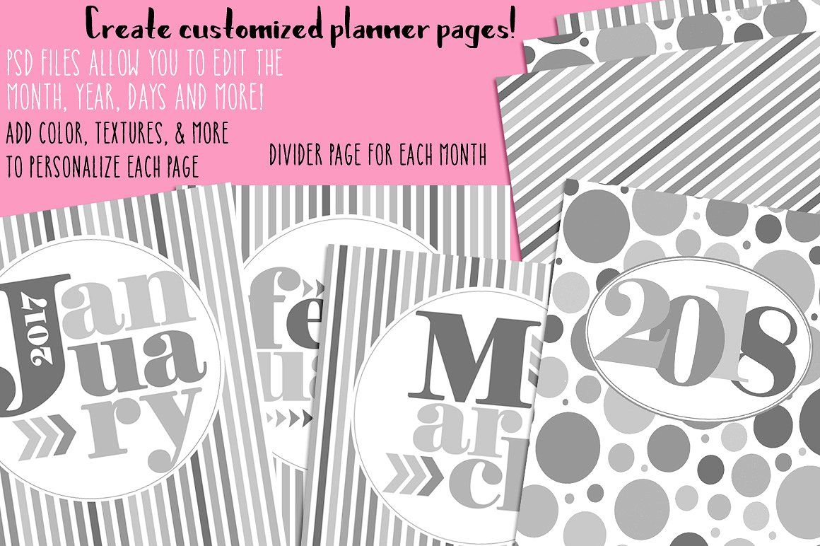 Customizable planner page templates with images