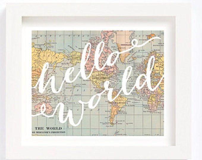 Printable world map oh the places youll go dr seuss vintage map printable hello world vintage world map kids room playroom travel nursery wall art print baby gumiabroncs Choice Image