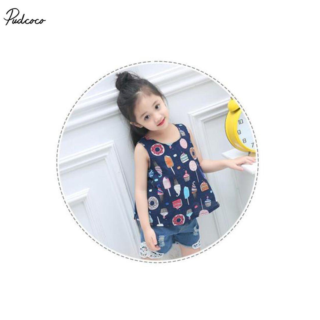 Cute sleeveless tops kids toddler girls new summer ice cream