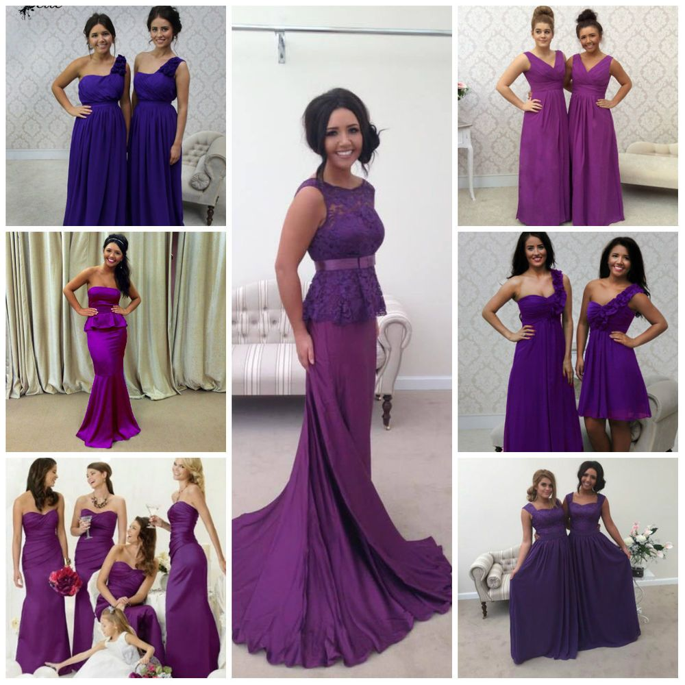 Details about cadbury purple satin chiffon lace bridesmaid wedding cadbury purple satin chiffon lace bridesmaid wedding maxi long plus size dress in clothes shoes ombrellifo Gallery