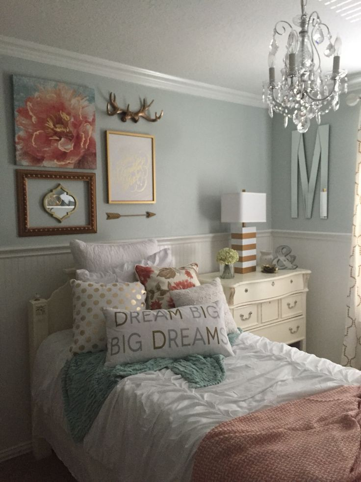 Bedroom For Girls turquoise blue girls bedroom features a white feather chandelier eos white pendant illuminating a Girls Bedroom Mint Coral Blush White Metallic Gold