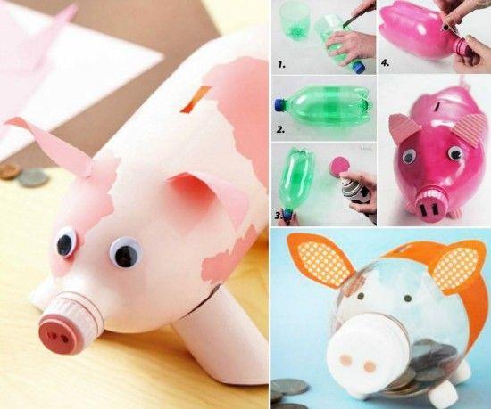 Plastic bottle piggy banks basteln pinterest piggy for Plastic bottle piggy bank craft