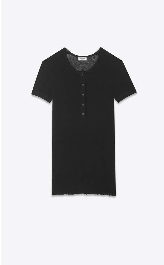 4a6186efa6 Saint Laurent Grunge Henley-Neck T-Shirt In Ribbed Jersey | Products ...