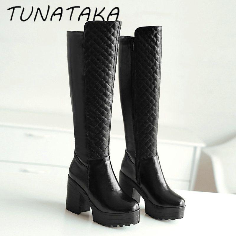 Wanita Musim Dingin Bulu Hangat Lutut Tinggi Boots Platform Tebal