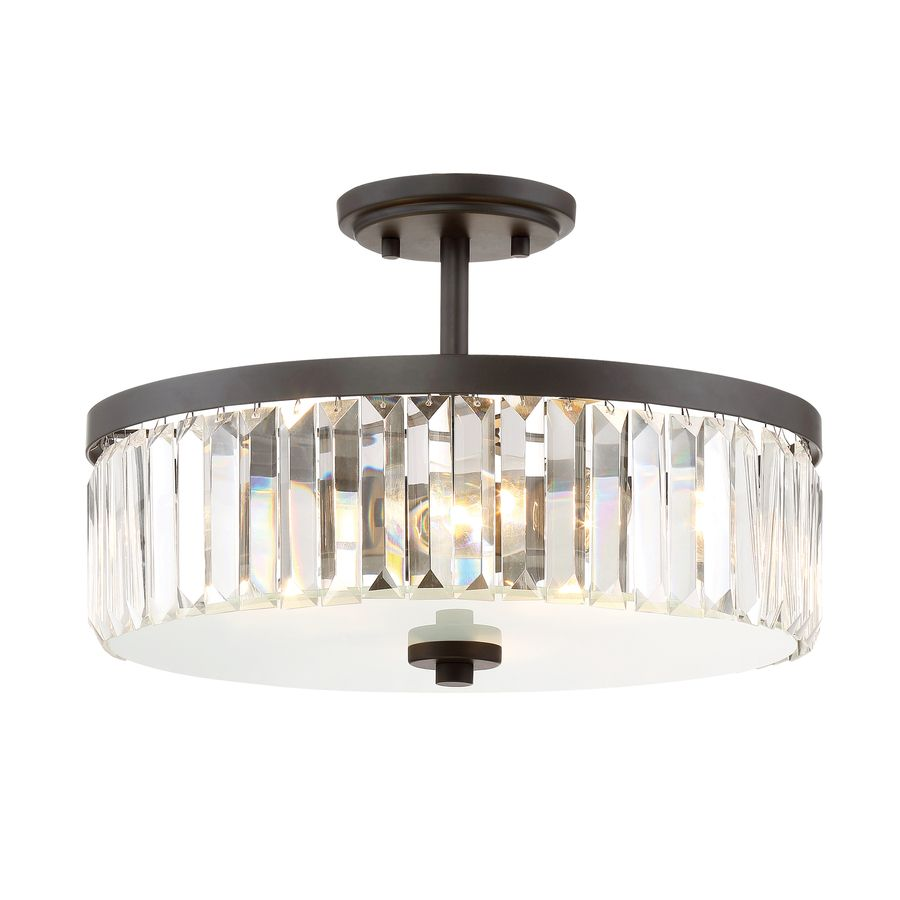 $99 Quoizel Valentina 15.5-in W Bronze Clear Glass Semi-Flush Mount ...