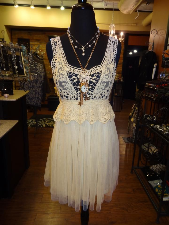 NEW!! Ivory, vintage, dress with crocheted top and tool skirt. Available at Apricot Lane Denver for $60.00