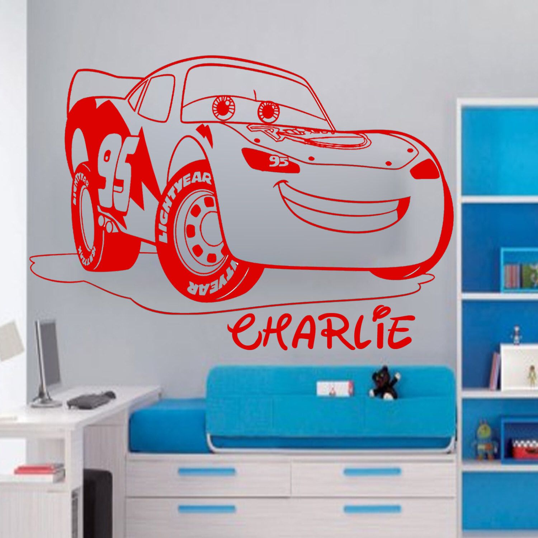 Disney Mcqueen Lightning Car Personalised Wall Sticker Art Etsy Personalised Wall Stickers Art Wall Kids Sticker Wall Art [ 1500 x 1500 Pixel ]