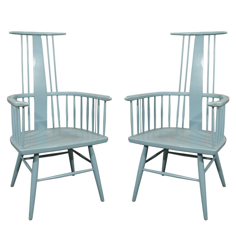 Pair Of Blue Windsor Chairs