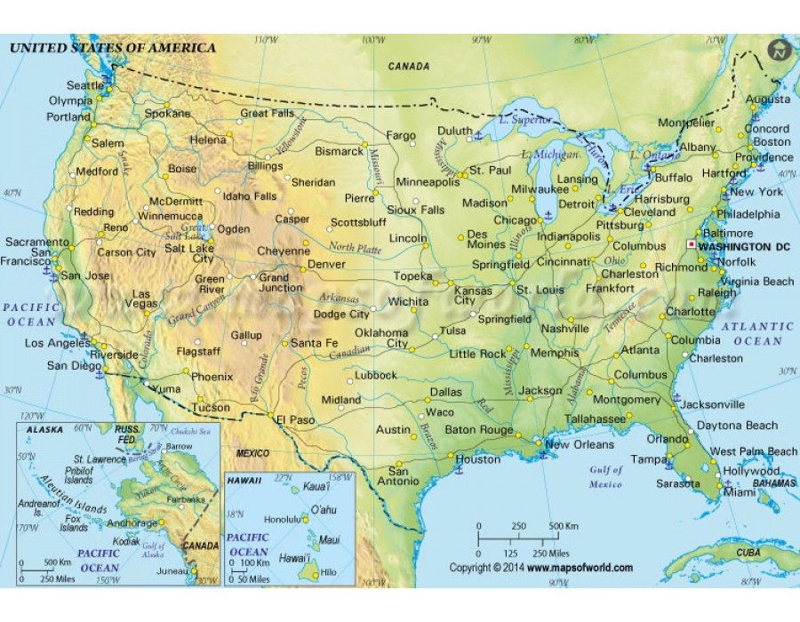 Buy US Physical Map in Green Color Green colors United states and